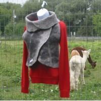 Veste 100% alpaga naturel gris et noir