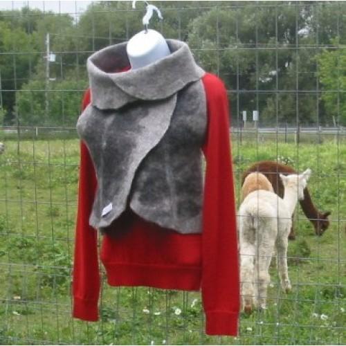 Vest 100% natural alpaca - grey and black