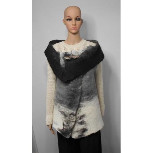 Sleeveless vest 100% natural alpaca - Koda black, Kala white, Gunsmoke grey