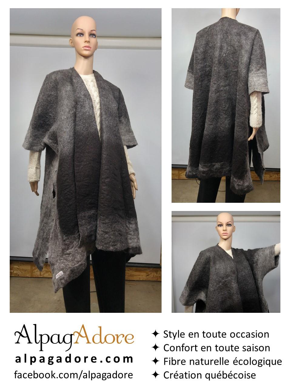 chale kimono en alpaga naturel